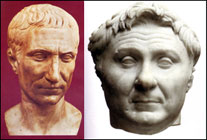 scuplted head images: Caesar and Pompey