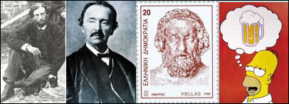 four small images of Calvert, Schliemann, Greek stamp image, Homer Simpson think of beer